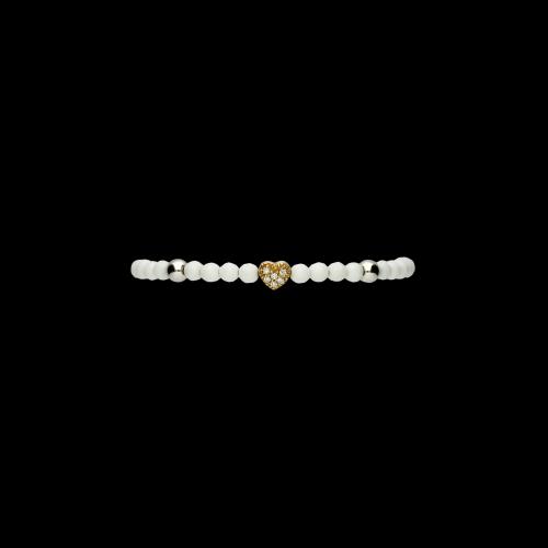 Bracciale in oro rosa, argento, diamanti bianchi e onice bianco