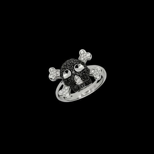Teschio - Anello in oro bianco 18 carati con diamanti bianchi e diamanti neri taglio brillante
