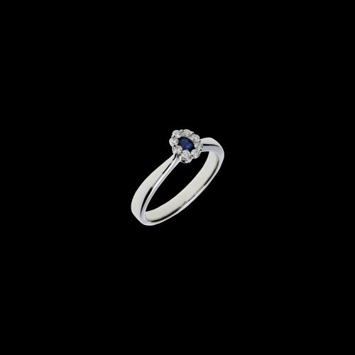 ANello solitario in oro bianco, diamanti bianchi e zaffiro blu naturale