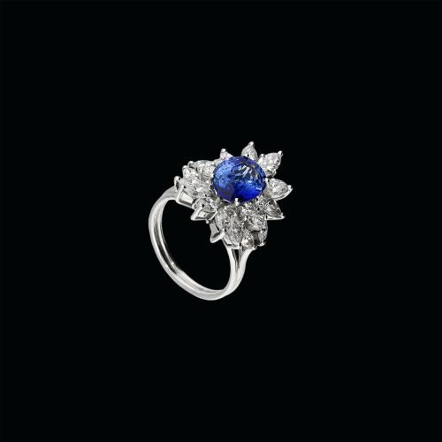 Anello in oro bianco 8 carati,diamanti bianchi taglio brillante zaffiro blu naturale