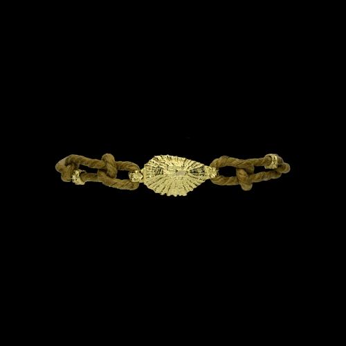 Bracciale in corda e conchiglia in oro giallo 18 carati