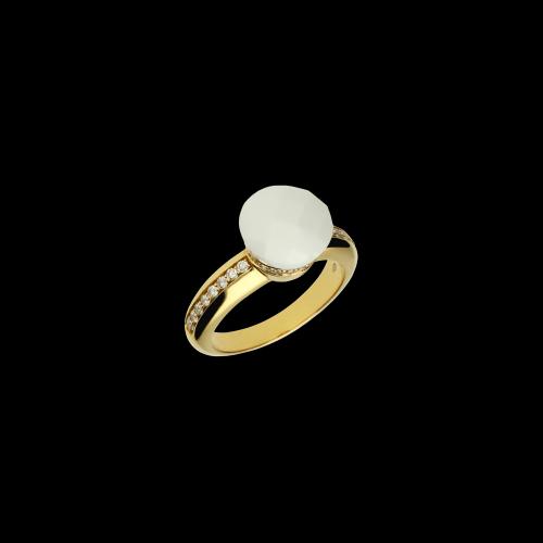 Anello in oro rosa 18 carati con agata e diamanti bianchi taglio brillante