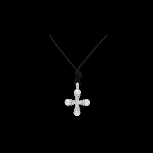 Ciondolo croce in oro bianco con perle e diamanti