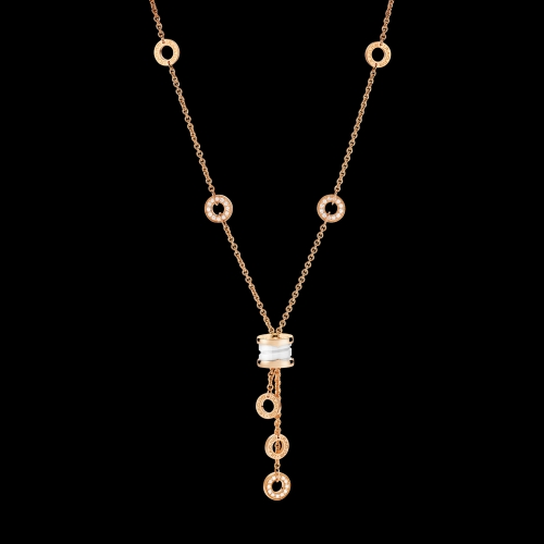 Collana B.zero1 in oro rosa 18 carati con ceramica bianca e pavé di diamanti. Lunghezza 39-44 cm