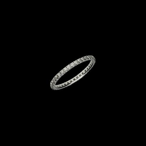 Veretta a giro intero in oro bianco e diamanti bianchi