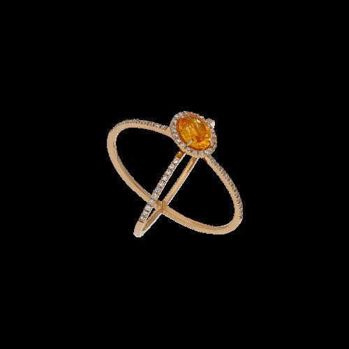 Anello in oro rosa 18 carati,granato mandarino e diamanti bianchi taglio brillante