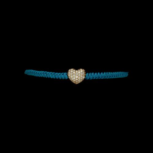 Bracciale cordone e cuore oro rosa e pave' brillanti