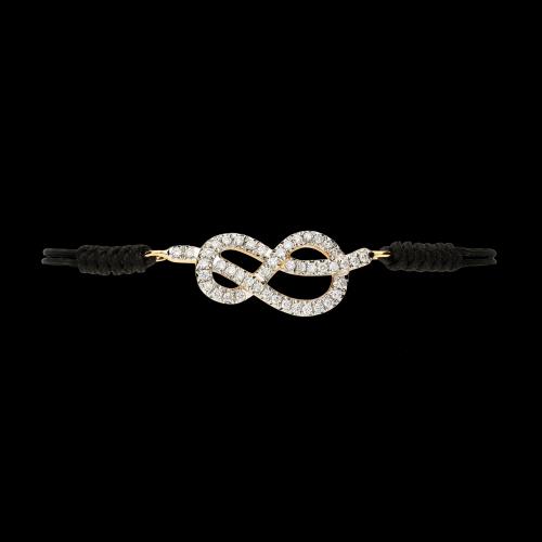 Bracciale in corda regolabile cin nodo savoia in oro rosa e diamanti bianchi