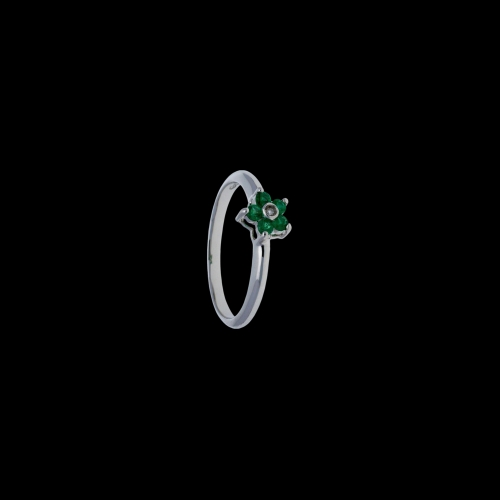 Anello in oro bianco 18 carati con smeraldi e diamante bianco taglio brillante