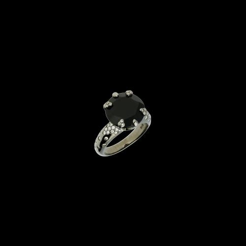 Anello in oro bianco brunito, diamanti bianchi e onice nera