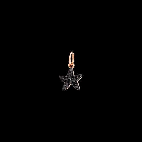 Stella Marina - Ciondolo in oro rosa 9 carati e diamanti black
