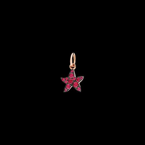 Stella Marina - Ciondolo in oro rosa 9 kt con rubini