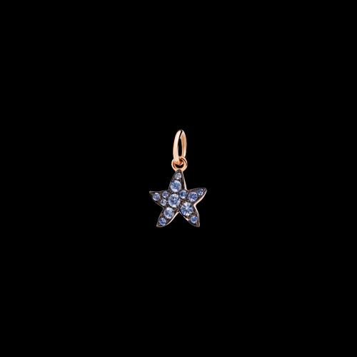 Stella Marina - Ciondolo in oro rosa 9 kt con zaffiri azzurri