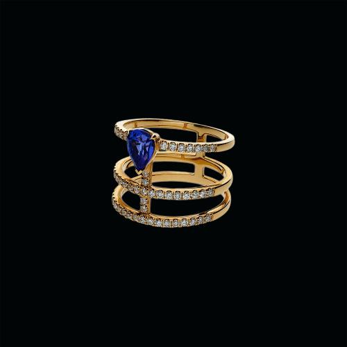 Anello in oro rosa 18 carati,zaffiro blu naturale e diamanti bianchi taglio brillante