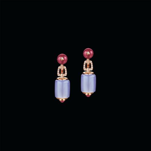 Orecchini MVSA in oro rosa 18 carati con calcedonio, perle di rubellite, perle di tormalina e pavé di diamanti