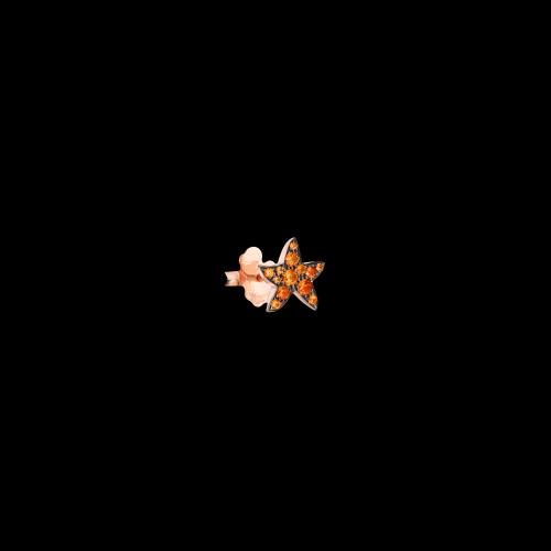 Stella Marina - Orecchino singolo in oro rosa 9 kt con zaffiri arancio