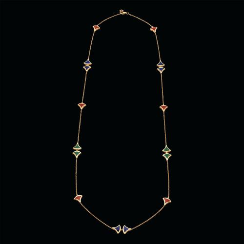Sautoir DIVAS' DREAM in oro rosa 18 carati con corniola, malachite e lapislazzuli