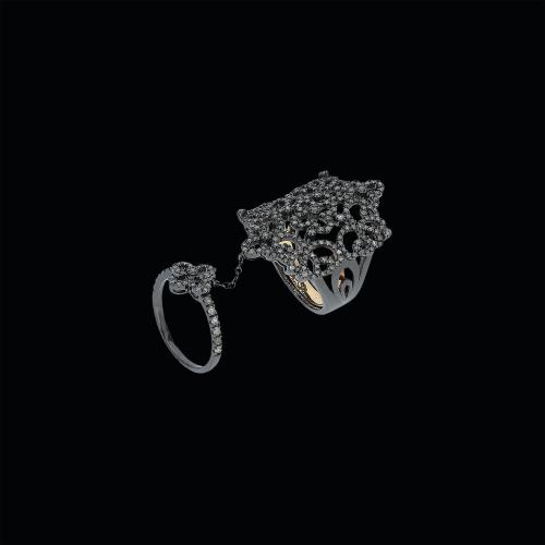 Anello in oro brunito 18 carati,argento 925 e diamanti ICE taglio brillante