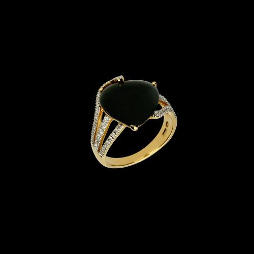 Cuore - Anello in oro bianco 18 carati con diamanti bianchi taglio brillante e onice