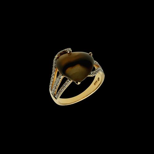 Cuore - Anello in oro rosa 18 carati con quarzo fumè e diamanti bianchi taglio brillante