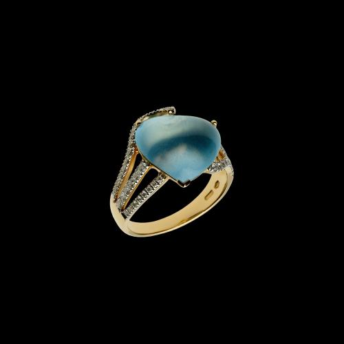 Cuore - Anello in oro rosa 18 carati con topazio azzurro e diamanti bianchi taglio brillante