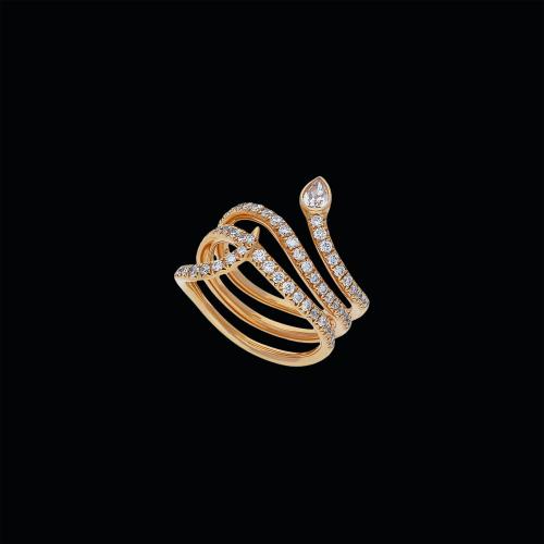 Serpente-Anello in oro rosa 18 carati e diamanti bianchi taglio brillante e taglio goccia