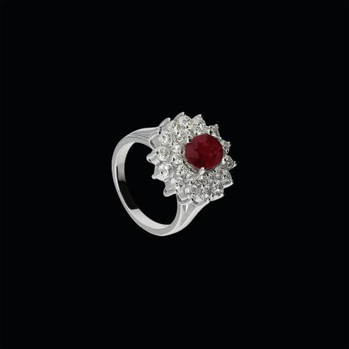 Anello in oro bianco 18 carati con rubino naturale e diamanti bianchi taglio brillante