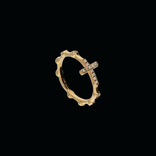 Croce - Anello in oro rosa 18 carati e diamanti bianchi taglio brillante