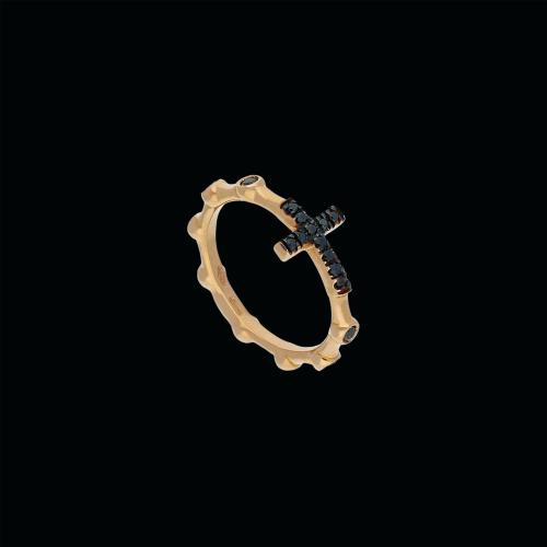Croce - Anello in oro rosa 18 carati e diamnti neri taglio brillante
