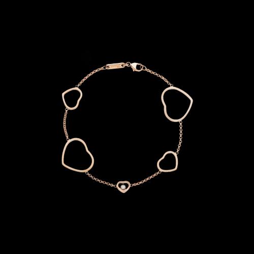 CHOPARD - HAPPY HEARTS - BRACCIALE CUORI IN ORO ROSA CON DIAMANTE - 857482-5001