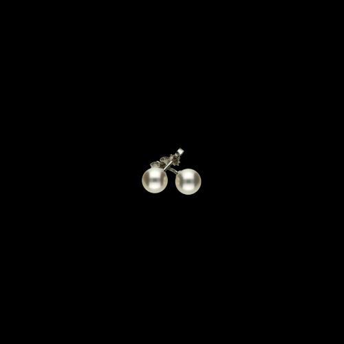 Orecchini in oro bianco 18 carati e perle bianche Akoya Ø 6,5 - 7 mm