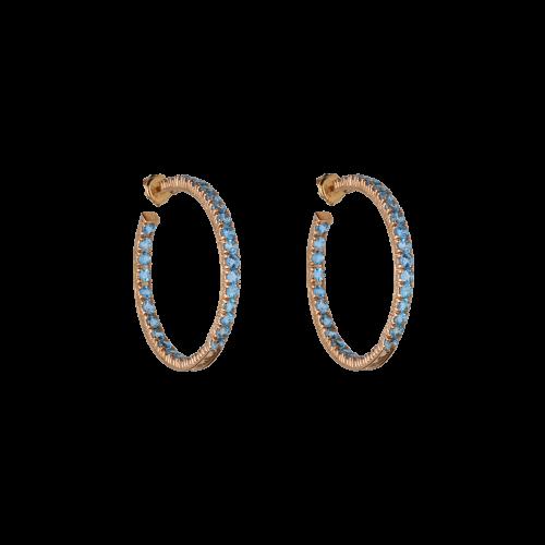 Orecchini cerchio in oro rosa e Topazi Azzurri