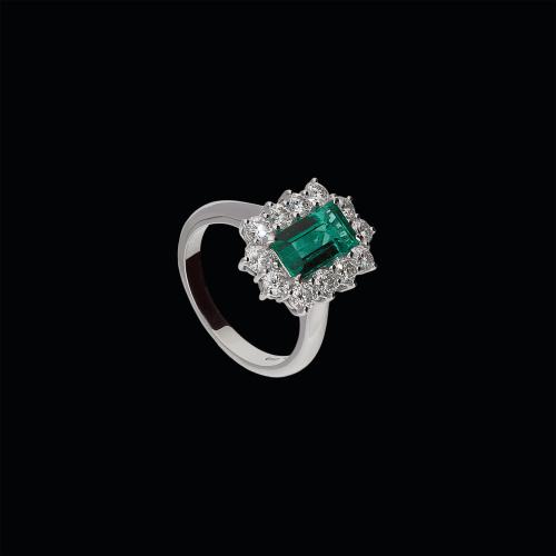 Anello in oro bianco 18 carati,smeraldo naturale e diamanti bianchi taglio brillante