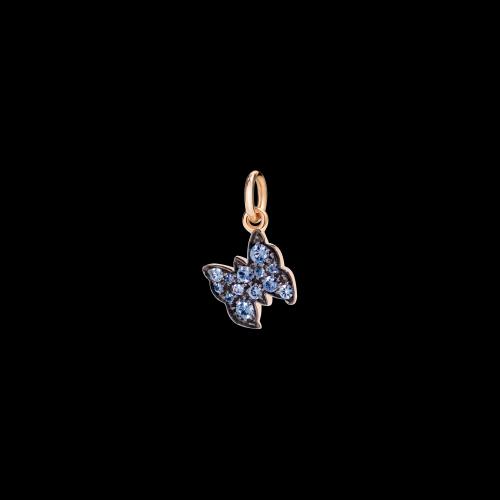 DODO RAINBOW - FARFALLA - Ciondolo in oro rosa 9 kt con zaffiri azzurri - D6FAP/9/ZA