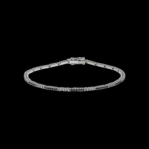 Bracciale tennis in oro bianco 18 carati,diamanti bianchi e diamanti neri taglio brillante