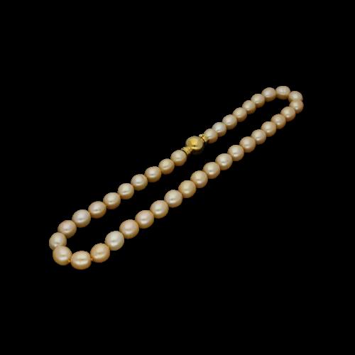 Collana di perle Gold diametro 9 - 9,5 con chiusura in oro giallo