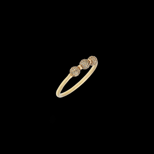 ANELLO IN ORO ROSA SFERE CON DIAMANTI BROWN