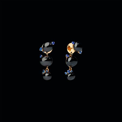 ORECCHINI CAPRI - ORECCHINI IN ORO ROSA, CERAMICA NERA E ZAFFIRI BLU - O.B610/O7/CNZF