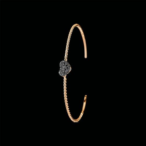 Bracciale in oro rosa 18 carati e diamanti neri taglio brillante