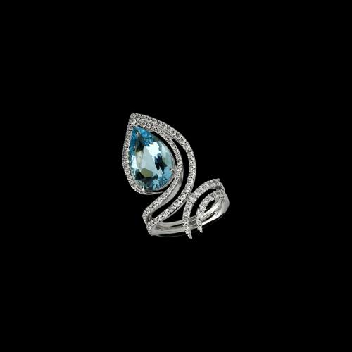 Anello in oro bianco 18 carati con diamanti taglio brillante e acquamarina taglio goccia