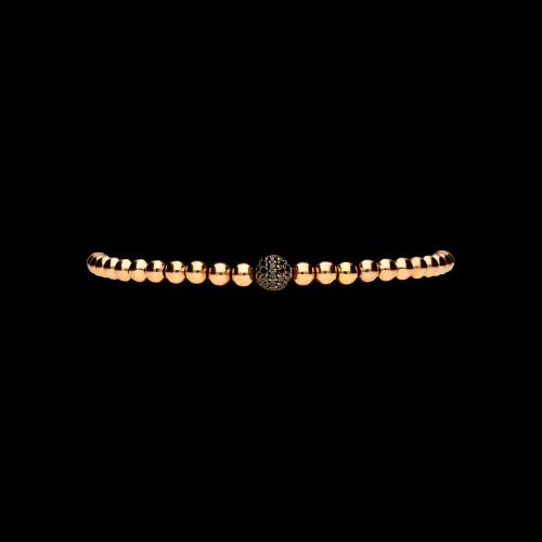 Bracciale in oro rosa 18 carati e cordino nero con diamanti neri taglio brillante