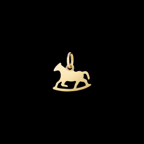 DODO TERRA - CAVALLO A DONDOLO - Ciondolo piccolo in oro giallo 18 kt - D7CDPOG