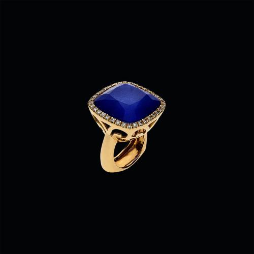 Anello in oro rosa 18 carati,zaffiro blu,cristallo di rocca e diamanti bianchi taglio brillante