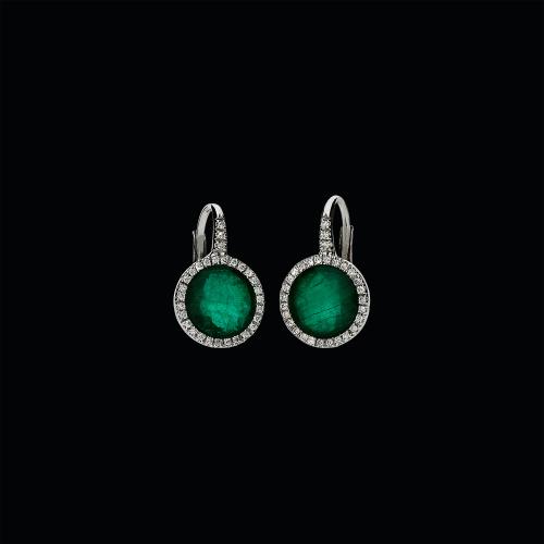 Orecchini in oro bianco 18 carati,smeraldo,cristallo di rocca e diamanti bianchi taglio brillante