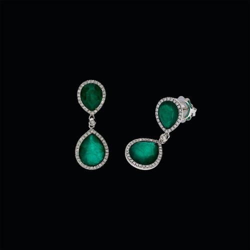 Orecchini in oro bianco 18 carati con smeraldi, cristallo di rocca e diamanti bianchi taglio brillante