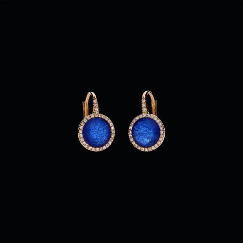 Orecchini in oro rosa 18 carati,zaffiri blu, cristallo di rocca e diamanti bianchi taglio brillante