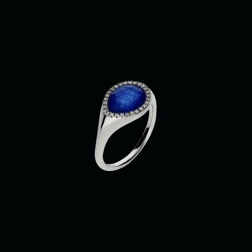 Anello in oro bianco 18 carati,zaffiri blu,cristallo di rocca e diamanti bianchi taglio brillante