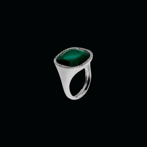 Anello in oro bianco 18 carati,smeraldo,cristallo di rocca e diamanti bianchi taglio brillante