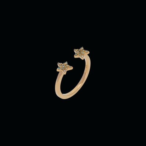 Anello in oro rosa 18 carati e diamanti brown taglio brillante