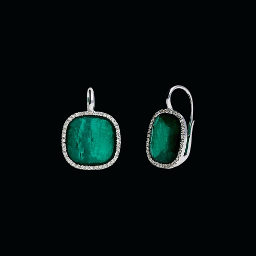 Orecchini in oro bianco 18 carati,smeraldi,cristallo di rocca e diamanti bianchi taglio brillante